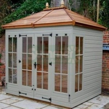 Hipped Summerhouse 912 - Painted, Low Level Glazing