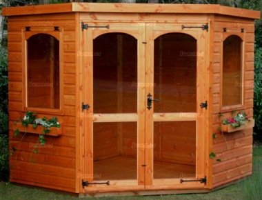 Corner Summerhouse 92 - Shiplap, Double Doors
