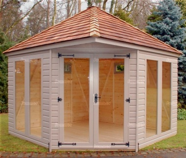 Corner Summerhouse 985 - Painted, Large Panes