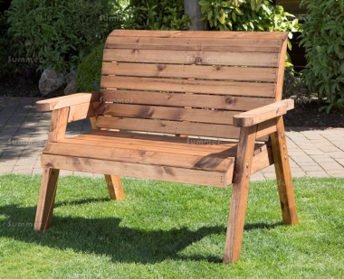 2 Seater Bench 432 - High Back, Slatted Seat and Back
