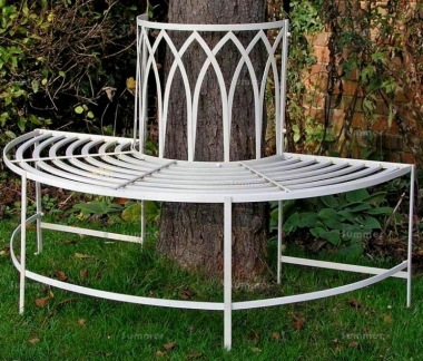 Vintage Tree Seat 634-2 - Wrought Iron, Antique Finish, Half Round