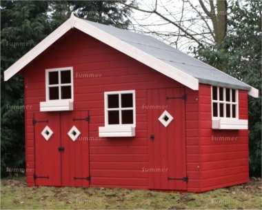 Painted Two Storey Playhouse 218 - With Garage