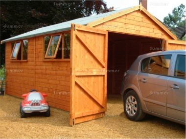 Wooden Garage 16 - Apex, Shiplap, Hinged Doors