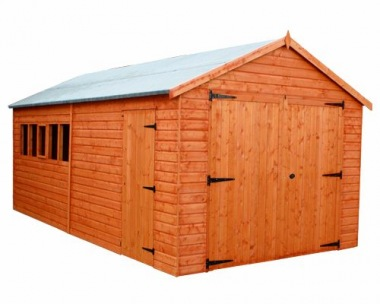 Wooden Garage 228 - Apex, Shiplap, Hinged Doors