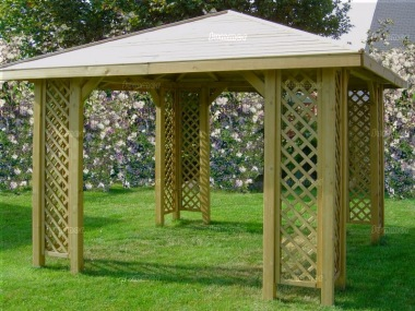 Gazebo 221 - Hipped, Pressure Treated, Trellis