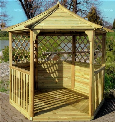 Gazebo 236 - Hexagonal, Pressure Treated, Slatted Roof