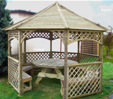 Gazebo 421 - Octagonal, Pressure Treated, Slatted Roof
