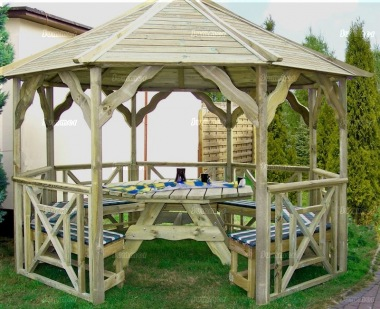 Gazebo 422 - Octagonal, Pressure Treated, Slatted Roof