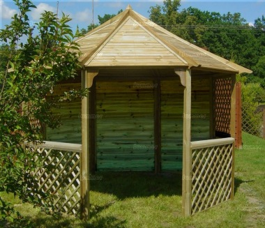 Gazebo 424 - Octagonal, Pressure Treated, Slatted Roof