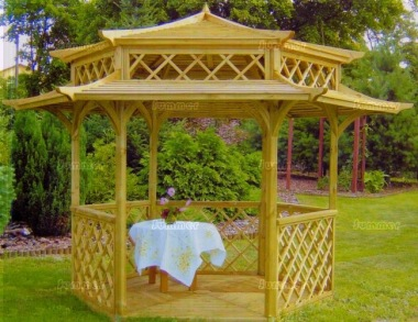 Gazebo 432 - Hexagonal, Pressure Treated Pagoda