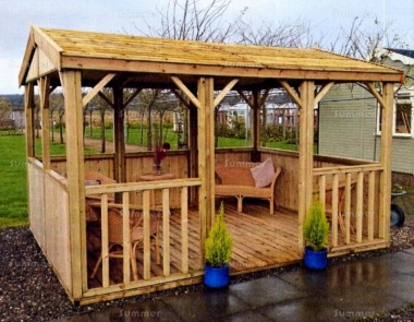 Wooden Gazebo 97 - Pressure Treated, Slatted Apex Roof
