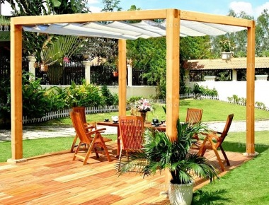 Wooden Gazebo 55 - Pressure Treated, Retractable Canopy