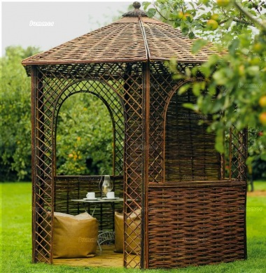 Wooden Gazebo 54 - Woven Natural Willow
