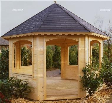 Wooden Gazebo 242 Octagonal 45mm Logs Felt Tiles