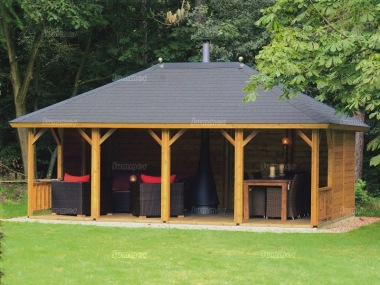Wooden Gazebo 328 - Hipped Roof, Felt Tiles