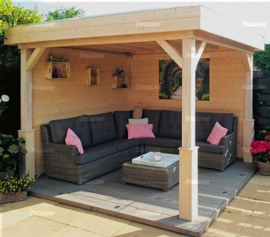 Wooden Gazebo 368 - Pent Roof, Fully Boarded Walls