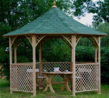 Wooden Gazebo 30 - Octagonal, Pressure Treated, Felt Tiles