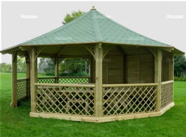 Wooden Gazebo 46 - Octagonal, Pressure Treated, Felt Tiles