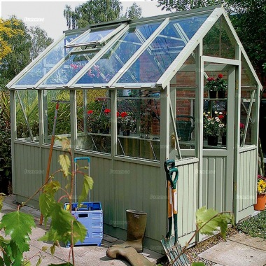 Painted cedar greenhouse 581 toughened glass staging - Wooden staging for greenhouse ...