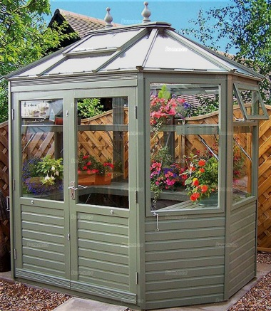 Painted Octagonal Cedar Greenhouse 585 Toughened Glass