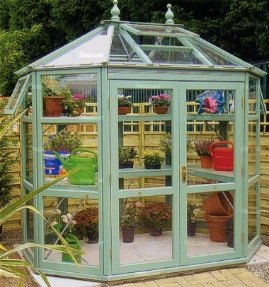 Painted cedar octagonal greenhouse 586 toughened glass - Wooden staging for greenhouse ...