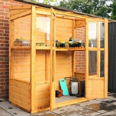 Wooden Pent Greenhouse 295 - Part Boarded, Hinged Double Doors