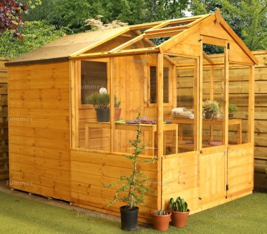Wooden Greenhouse 298 - Built In Shed