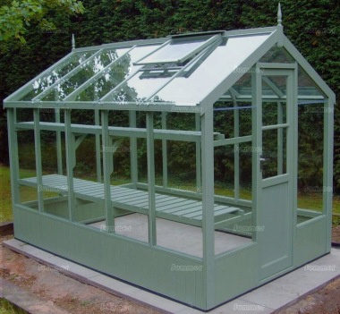 Painted wooden greenhouse 211 thermowood toughened glass - How to build a wooden greenhouse ...