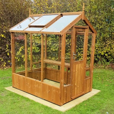 Thermowood Wooden Greenhouse 232 - Toughened Glass