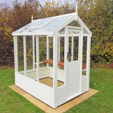 Painted Wooden Greenhouse 233 - Thermowood, Toughened Glass