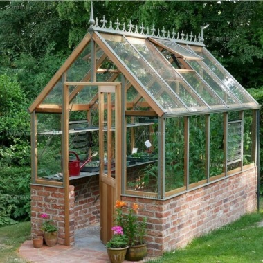 Dwarf Wall Victorian Greenhouse 650 - Cedar, Steep Roof