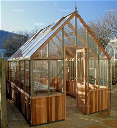 Cedar Victorian Greenhouse 655 - Steep Roof, Half Boarded Walls