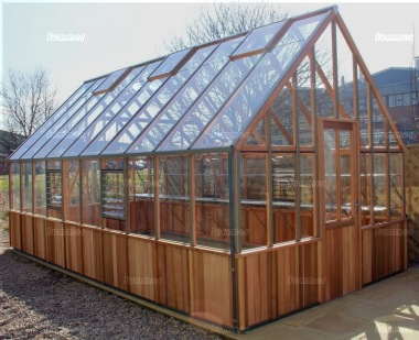 Cedar Victorian Greenhouse 660 - Steep Roof, Hinged Door