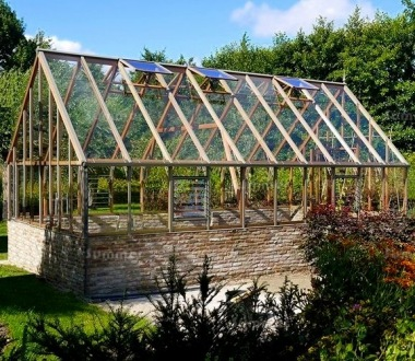Dwarf Wall Victorian Greenhouse 662 - Cedar, Steep Roof