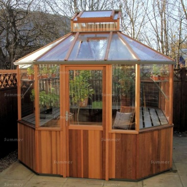Cedar Octagonal Greenhouse 87 - Toughened Glass