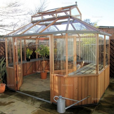 cedar octagonal greenhouse 88 toughened glass