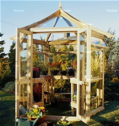 Pressure Treated Hexagonal Greenhouse 95 - Toughened Glass