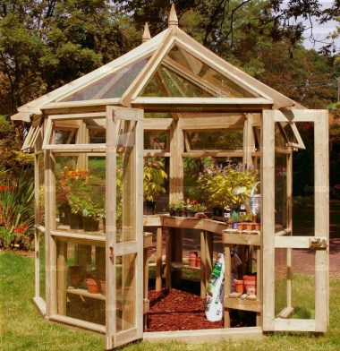 Pressure Treated Octagonal Greenhouse 96 - Toughened Glass