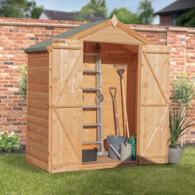 Apex Roof Storage Shed 327 - Pressure Treated, Double Door
