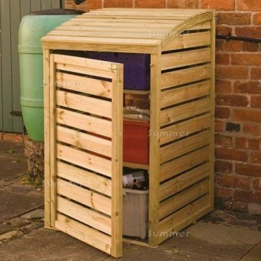 Recycling Bin Storage Shed 262 - Pressure Treated, Two Shelves