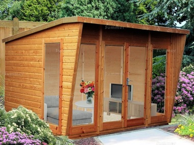 Pent Summerhouse 084 - Shiplap, Large Panes