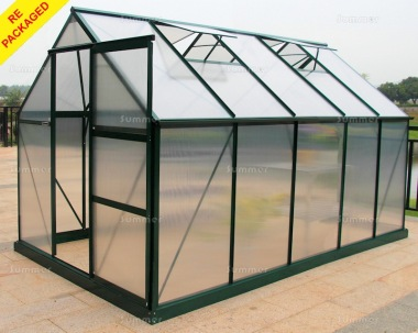 Repackaged Aluminium Greenhouse 017 - Green, Polycarbonate, Free Base