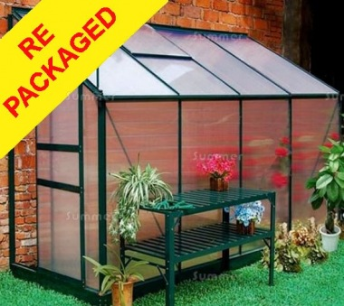 Repackaged Aluminium Lean To Greenhouse 045 - Green, 6mm Polycarbonate
