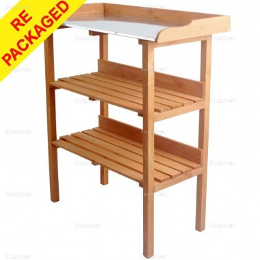 Repackaged 3 Tier Wooden Potting Bench 318 - Galvanized Steel Worktop