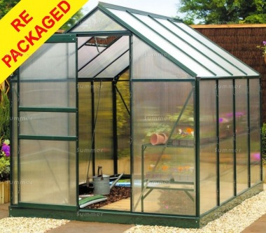 Repackaged Aluminium Greenhouse 101 - Green with Polycarbonate